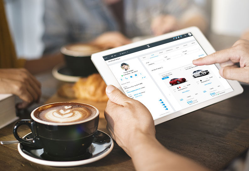 automotive crm software tablet digital retail